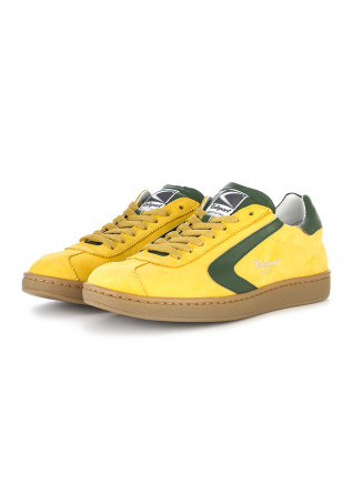 MEN'S SHOES SNEAKERS NUBUCK LEATHER YELLOW GREEN VALSPORT