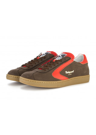 MEN'S SHOES SNEAKERS NUBUCK LEATHER COCOA BROWN / ORANGE VALSPORT