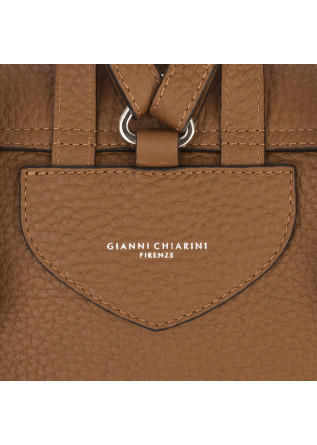 WOMEN'S BAGS BACKPACK HAMMERED LEATHER LIGHT BROWN GIANNI CHIARINI