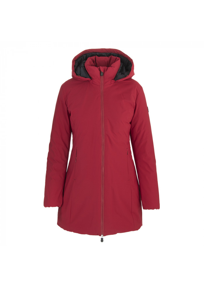 WOMEN'S CLOTHING LONG DOWN JACKET ECO FRIENDLY RED SAVE THE DUCK