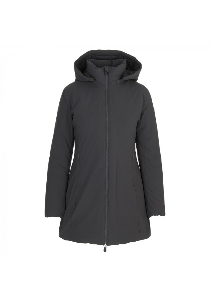 WOMEN'S CLOTHING LONG DOWN JACKET ECO FRIENDLY DARK GREY SAVE THE DUCK
