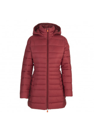 WOMEN'S CLOTHING LONG DOWN JACKET ECO FRIENDLY DARK RED SAVE THE DUCK