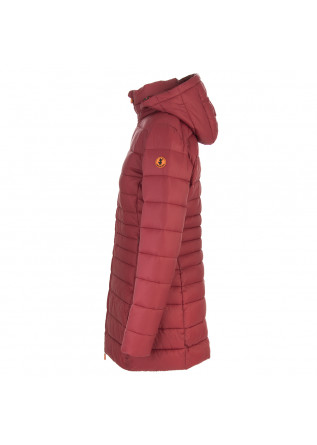 DAMENKLEIDUNG LANGE DAUNENJACKE ECO FRIENDLY DUNKELROT SAVE THE DUCK
