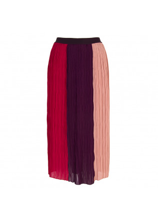 WOMEN'S CLOTHING PLEATED LONGUETTE SKIRT PINK RED PURPLE SEMICOUTURE