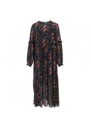WOMEN'S CLOTHING LONG DRESS BLACK / MULTICOLOR BUTTERFLIES SEMICOUTURE