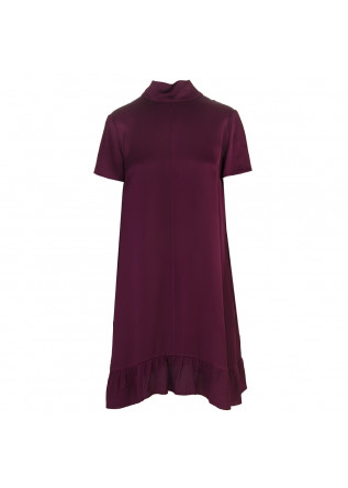 WOMEN'S CLOTHING DRESS VISCOSE DARK PURPLE SEMICOUTURE