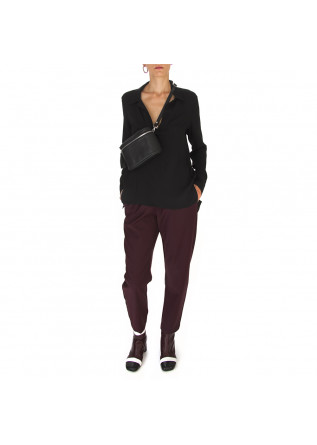 DAMENKLEIDUNG HOSE WOLLE MIX DUNKEL BORDEAUX SEMICOUTURE