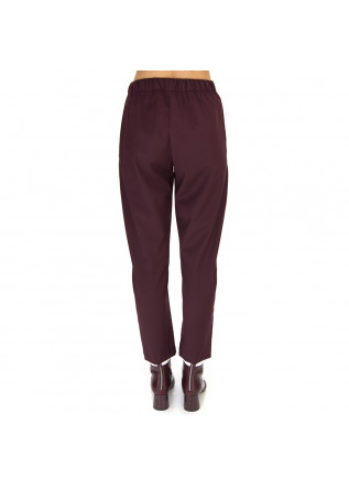 WOMEN'S CLOTHING TROUSERS WOOL MIX DARK BORDEAUX SEMICOUTURE