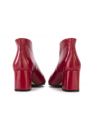 WOMEN'S SHOES ANKLE BOOTS LEATHER ''V'' DECOLLETE RED L'ARIANNA