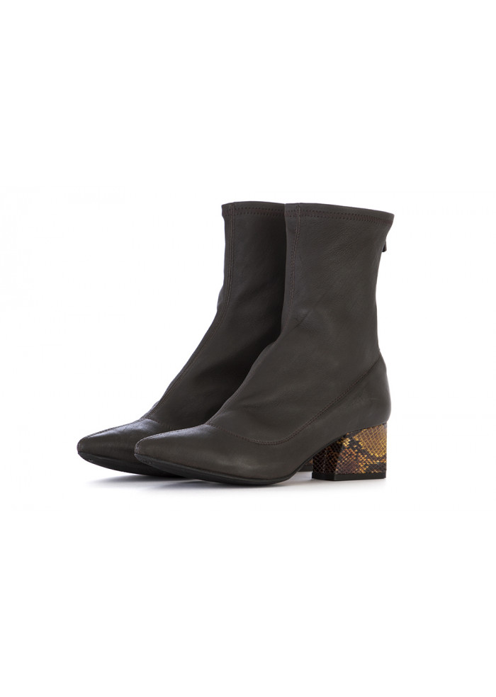 WOMEN'S SHOES HEEL BOOTS NAPPA LEATHER DARK BROWN L'ARIANNA