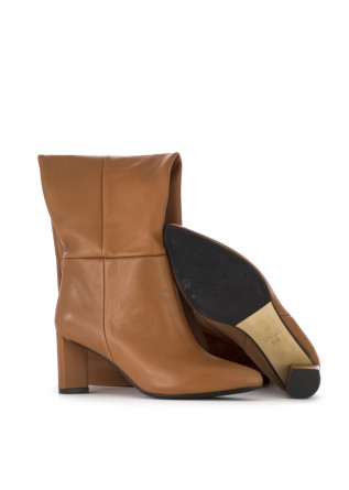 WOMEN'S SHOES HIGH BOOTS NAPPA LEATHER BROWN L'ARIANNA