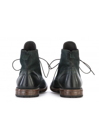 MEN'S SHOES ANKLE BOOTS LEATHER HANDMADE IN ITALY DARK GREEN MOMA