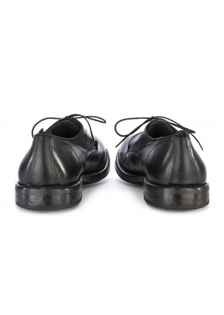 MEN'S SHOES LACE-UP LEATHER HANDMADE IN ITALY BLACK MOMA