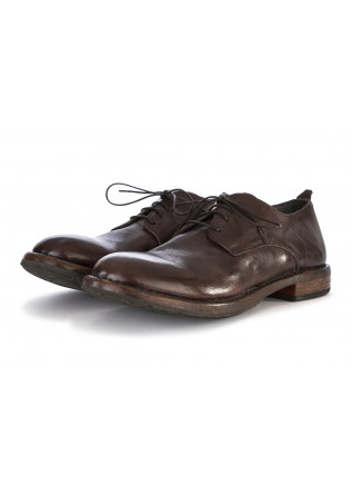 MEN'S SHOES LACE-UP GENUINE LEATHER HANDMADE DARK BROWN MOMA