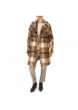 WOMEN'S CLOTHING COAT TARTAN CAMEL BROWN DISTRETTO 12