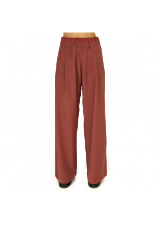WOMEN'S CLOTHING TROUSERS WOOL MIX BRICK RED SEMICOUTURE