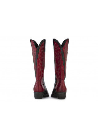 WOMEN'S SHOES HIGH TEXAS BOOTS LEATHER BLACK BORDEAUX POESIE VENEZIANE