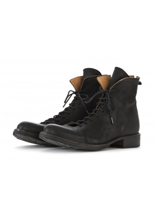 MEN'S SHOES BOOTS HAMMERED LEATHER BLACK FIORENTINI + BAKER