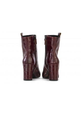 WOMEN'S SHOES HEEL BOOTS LEATHER BORDEAUX PYTHON PRINT JUICE