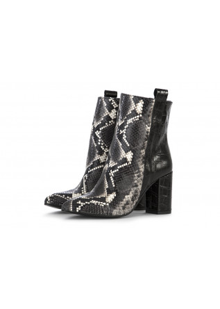 WOMEN'S SHOES HEEL BOOTS BLACK GREY PYTHON PRINT JUICE