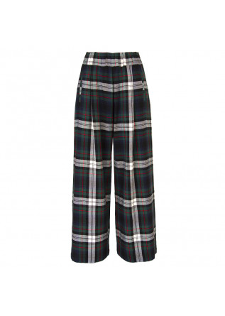WOMEN'S CLOTHING TROUSERS TARTAN GREEN / BLUE SEMICOUTURE