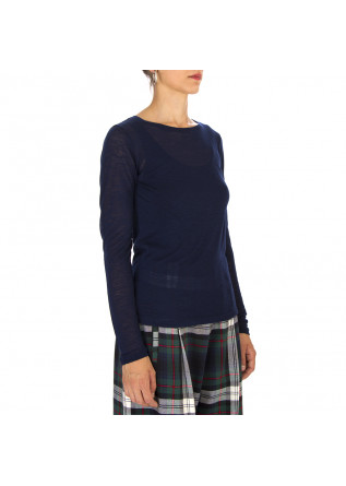 WOMEN'S CLOTHING T-SHIRT LONG SLEEVES WOOL MIX BLUE SEMICOUTURE