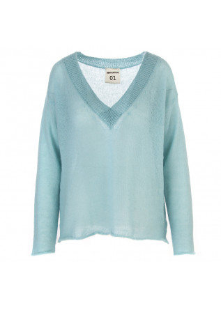 WOMEN'S CLOTHING SWEATER LARGE V-NECK LIGHT BLUE SEMICOUTURE