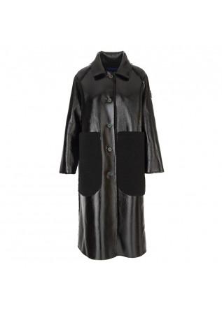 WOMEN'S CLOTHING LONG COAT REVERSIBLE ECO LEATHER BLACK OOF