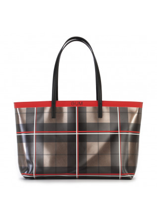 WOMEN'S BAGS SHOULDER BAG VINYL TARTAN BRONZE RED GUM CHIARINI