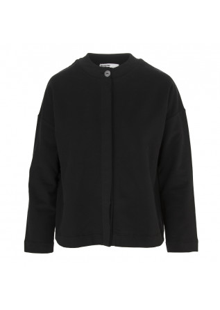 WOMEN'S CLOTHING CARDIGAN COTTON STRETCH FLEECE BLACK BIONEUMA