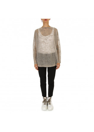 WOMEN'S CLOTHING SWEATER MERINO WOOL MIX BEIGE / GREY BIONEUMA