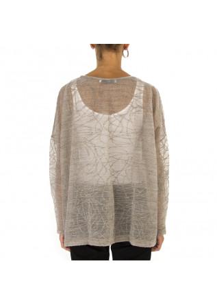 WOMEN'S CLOTHING SWEATER MERINO WOOL MIX BEIGE / GREY BIONEUMA