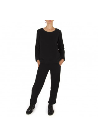 WOMEN'S CLOTHING TROUSERS 'CARROT' COTTON FLEECE BLACK BIONEUMA