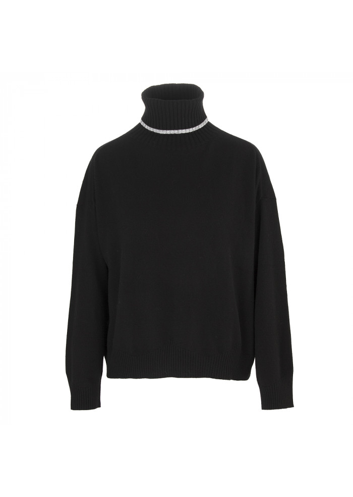 WOMEN'S CLOTHING TURTLENECK SWEATER WOOL / CASHMERE BLACK SEMICOUTURE