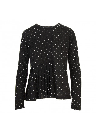 WOMEN'S CLOTHING T-SHIRT BLACK / WHITE POLKA DOT SEMICOUTURE