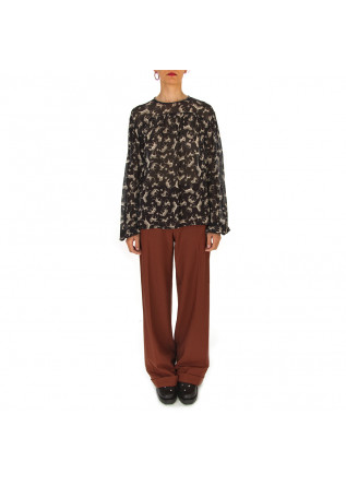 WOMEN'S CLOTHING TROUSERS WOOL MIX BROWN PHISIQUE DU ROLE