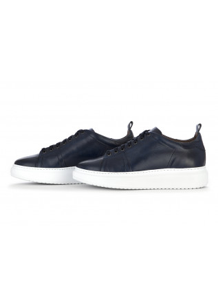 MEN'S SHOES SNEAKERS HANDMADE IN LEATHER BLUE MANOVIA 52