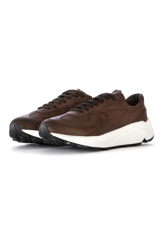 MEN'S SHOES SNEAKERS LEATHER CHOCOLATE BROWN MANOVIA 52