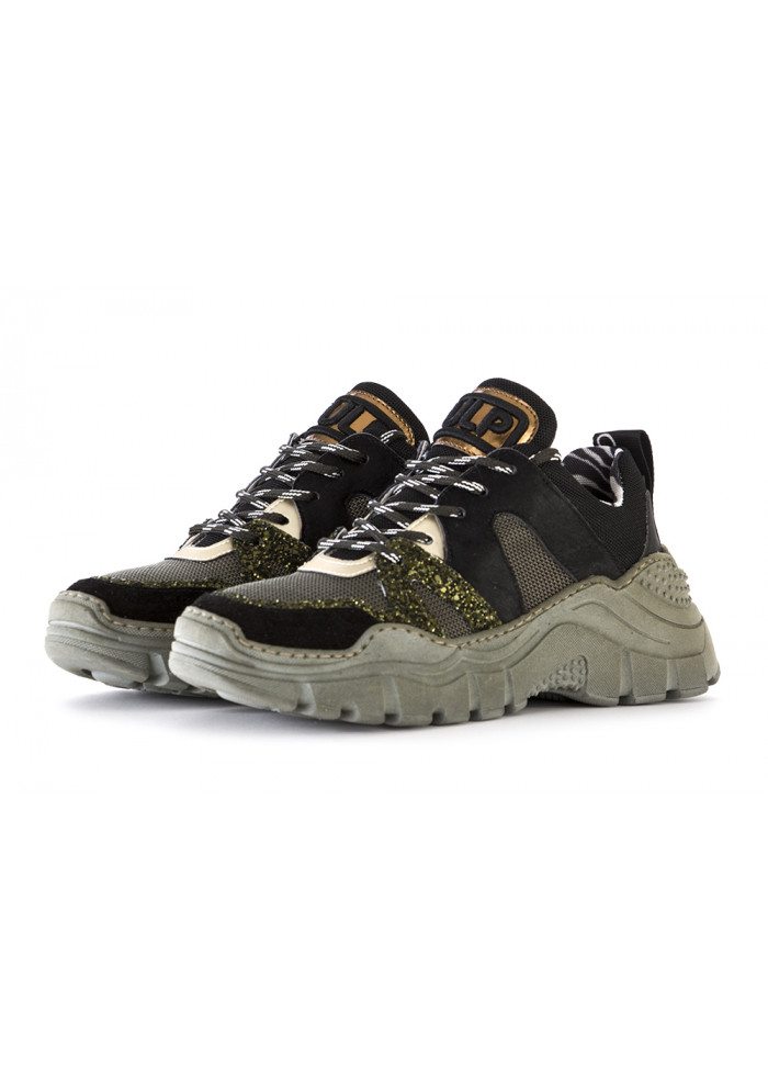 WOMEN'S SHOES SNEAKERS MILITARY GREEN BLACK @GO