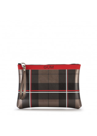 WOMEN'S BAGS WRISTLET BAG VINYL TARTAN BRONZE / RED GUM CHIARINI