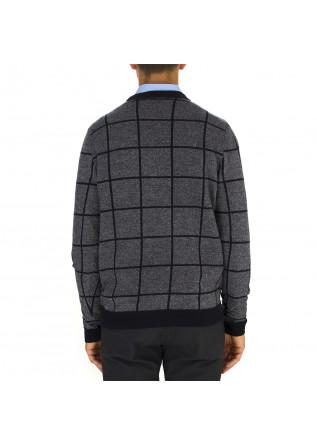 MEN'S CLOTHING SWEATER WOOL MIX GEOMETRIC BLUE GREY WOOL & CO