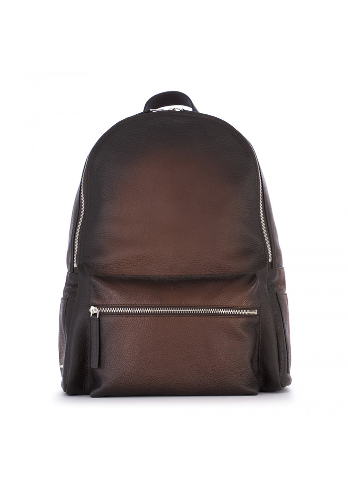 MEN'S ACCESSORIES BACKPACK GENUINE LEATHER DARK BROWN ORCIANI