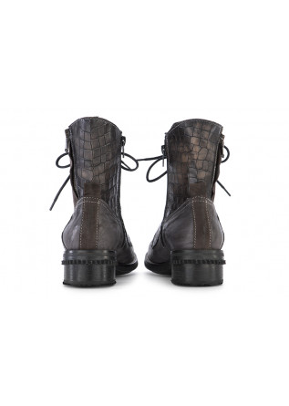 WOMEN'S SHOES ANKLE LACE UP BOOTS GREY BROWN CLOCHARME / CHARME ROUTARD