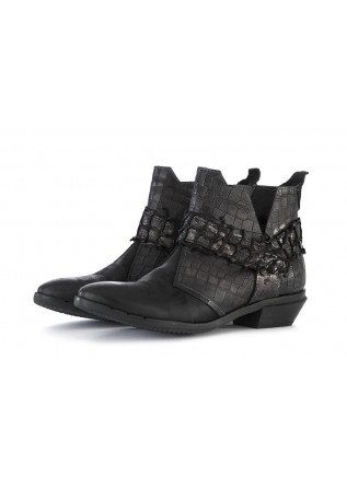 WOMEN'S SHOES BOOTS GENUINE LEATHER BLACK CLOCHARME / CHARME ROUTARD