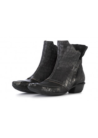 WOMEN'S SHOES ANKLE BOOTS LEATHER BLACK CLOCHARME / CHARME ROUTARD
