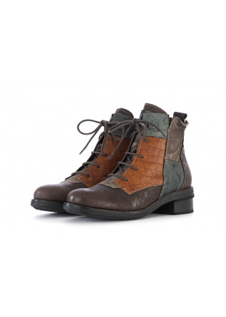WOMEN'S SHOES ANKLE BOOTS LEATHER BROWN GREEN CLOCHARME/CHARME ROUTARD