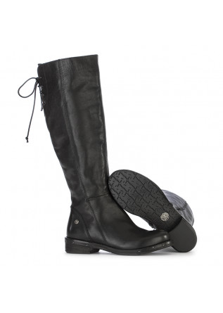 WOMEN'S SHOES HIGH BOOTS LEATHER BLACK REP-KO