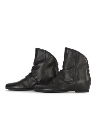 WOMEN'S SHOES ANKLE BOOTS LEATHER BLACK REP-KO