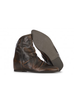 WOMEN'S SHOES ANKLE BOOTS GENUINE LEATHER BROWN / DARK BROWN REP-KO