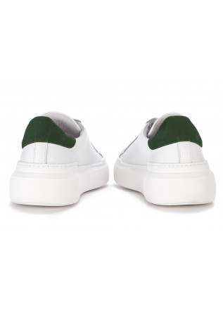 MEN'S SHOES SNEAKERS LEATHER WHITE WITH GREEN DETAIL @GO